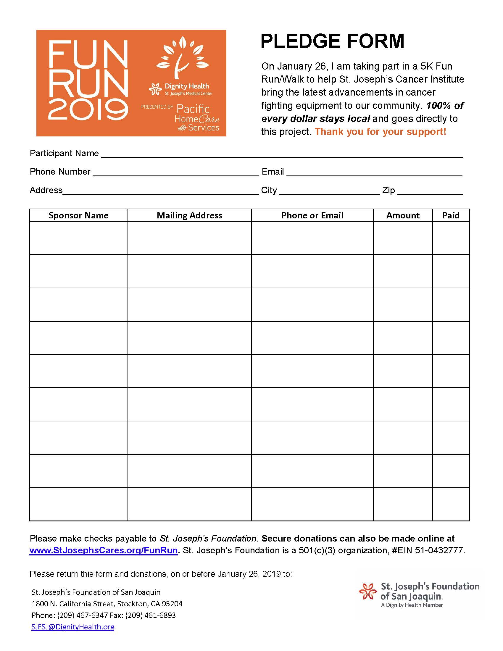 Photo of Fun Run 2019 Donation Form