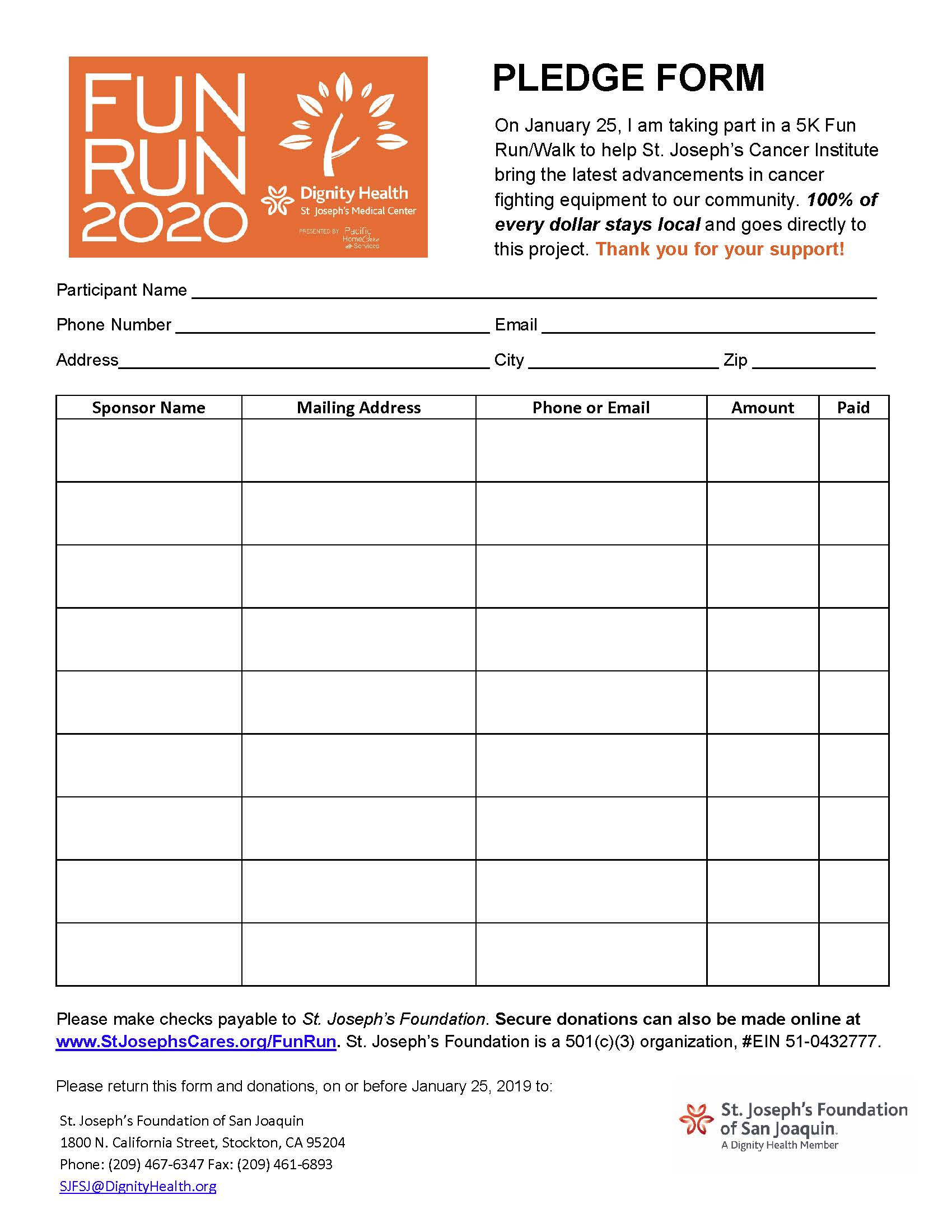 2020 Fun Run Pledge Form